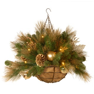20-inch Decorative Collection Elegance Hanging Basket with 50 Soft White LEDs