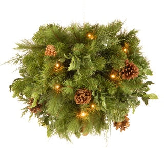 20-inch Decorative Collection Juniper Mix Pine Kissing Ball with 30 Soft White LEDs