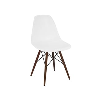 Trige White Mid Century Side Chair Walnut Base (Set of 5)