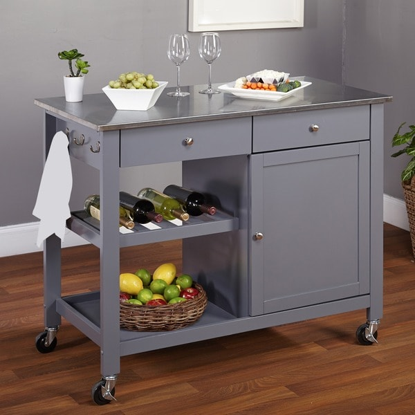 Shop Simple Living Columbus Grey Kitchen Cart With