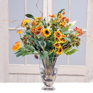 Autumn Harvest Bouquet In Footed Glass 23-inch Vase