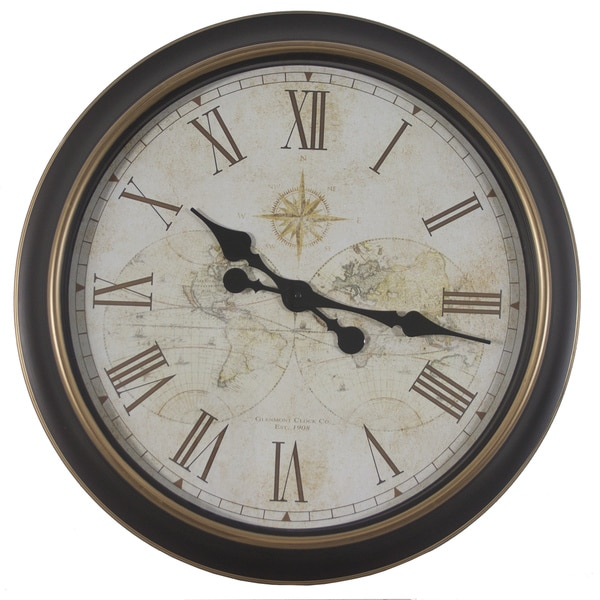 Shop 24 Inch Global Antique Map Clock Free Shipping