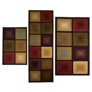 Optic Squares 3 Piece Rug Set Multi 2