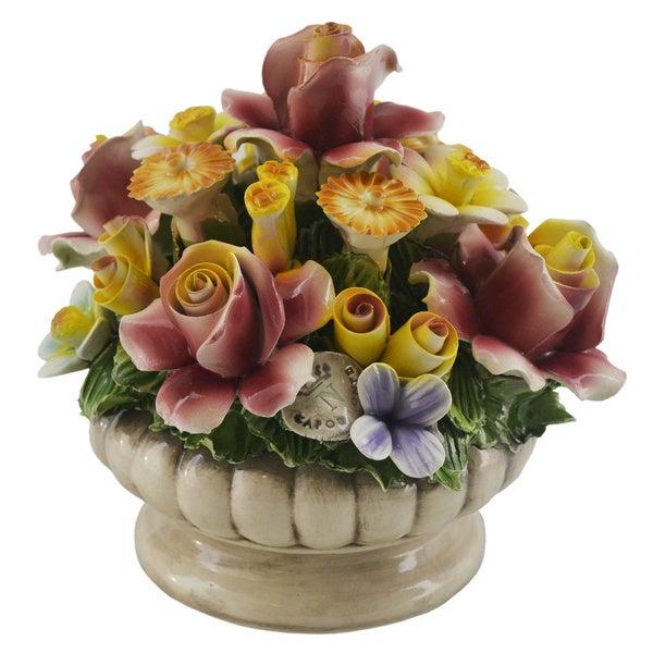 Italian Capodimonte Floral Arrangement in a Round Vase Centerpiece
