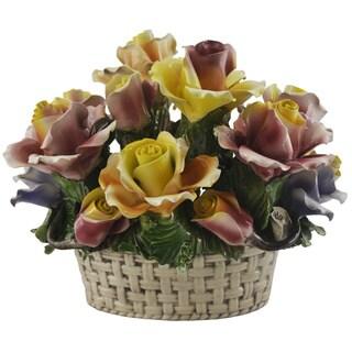 Floral Arrangement in a Woven Basket Italian Capodimonte Centerpiece