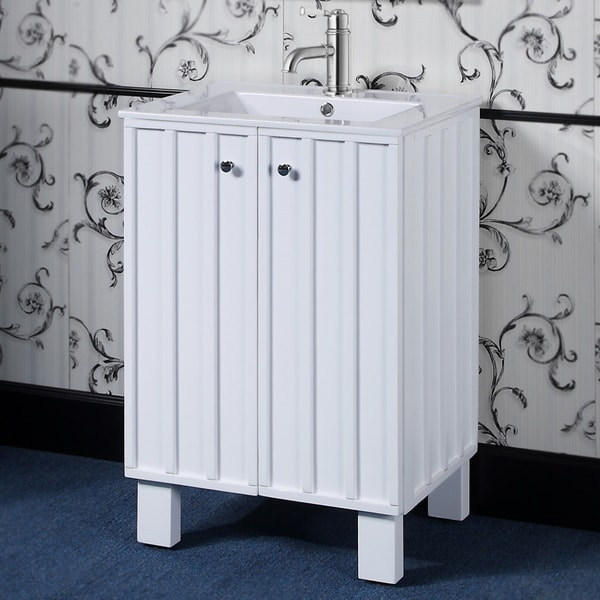 24 Inch Single Sink White Finish Soft Closing Doors