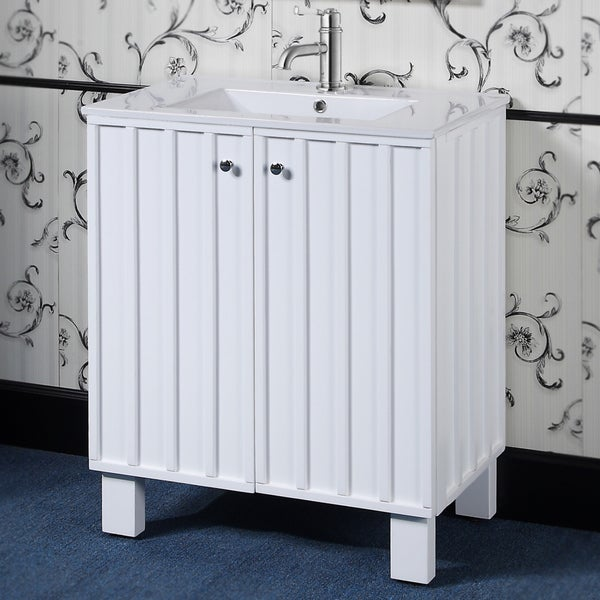 Shop 30 inch white finish single sink soft closing doors - 30 inch single sink bathroom vanity ...