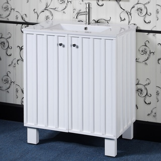 30 inch White Finish Single Sink Soft-closing Doors Bathroom Vanity