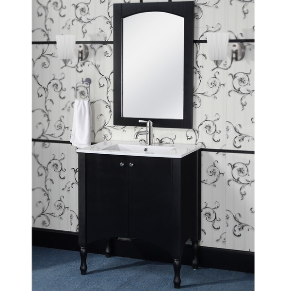 30 Inch Contemporary Style Black Finish Single Sink Bathroom Vanity And Match
