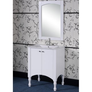 30-inch Contemporary Style White Finish Single Sink Bathroom Vanity and Matching Framed Arched Top Mirror