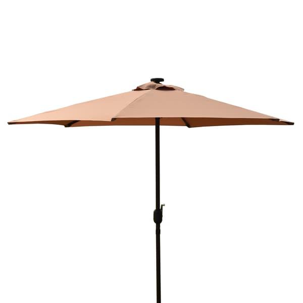 Led Patio Umbrella Reviews: Shop Corvus HA012 9-foot Khaki Colored Patio Umbrella With