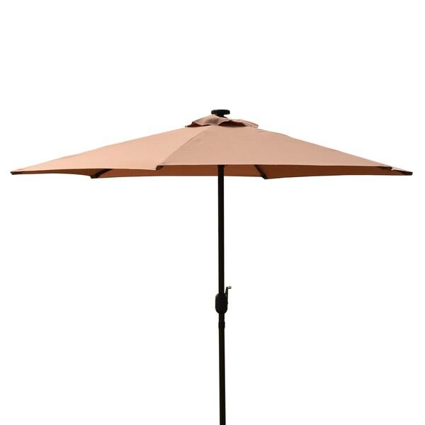 Backyard Umbrella Lights :  Innovations 9Foot Deluxe Solar Powered Led Lighted Red Patio Umbrella