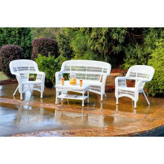 Tortuga Portside Outdoor PE Wicker 4 Piece Patio Seating Set (Option: White)