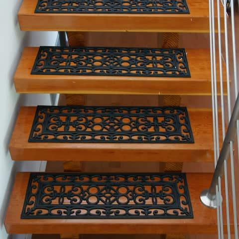 Rubber-Cal Regal 6-piece Black Stair Tread Rubber Mats Set