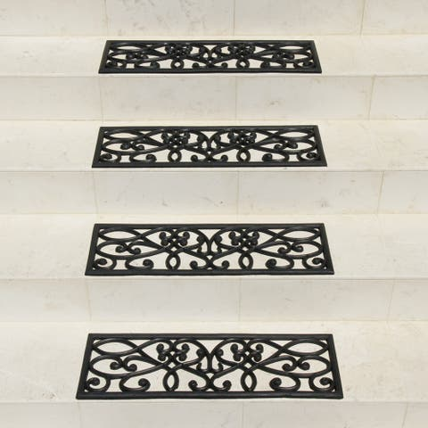 Rubber-Cal 'New Amsterdam' Black Stair Tread Rubber Mats (Set of 6) - 9.7 x 29.7