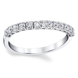 Oliveti 14k White Gold 1/4ct TDW Diamond Conforming Wedding Ring