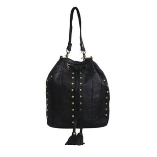 Amerileather Maxine Black Leather Shoulder Bag