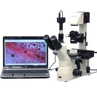 AmScope 40X-900X Infinity Plan Kohler Phase Inverted Microscope with 5MP Camera