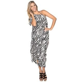 La Leela Likre Animal Skin Printed Swim Beach Sarong Cover up Pareo Wrap Tunic Black