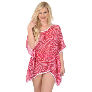 La Leela Bikini Cover up All in 1 BELT Robe Sheer Tunic CARRY With Tank /Use it as Cover Pink