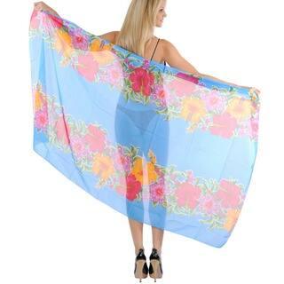 La Leela Floral Cover up Sarong Beachwear 3 in 1 Hawaiian Pareo Shawl Scarf Pretty Women
