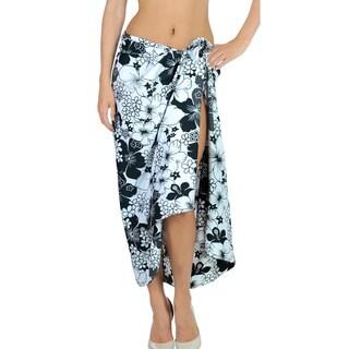 La Leela Likre Swimsuit Wrap Hawaiian Sarong Cover up Beach Dress 72X42In Black