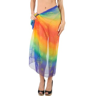 La Leela Cover up Swimsuit FISHES Gradient Women Shawl Scarf Sheer Skirt/Use as Curtains