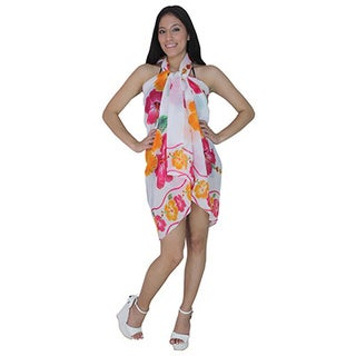 La Leela Travel Gift Beachwear Soft Fabric 7 Ways Wear Sarong Bikini Cover up Dress Pink
