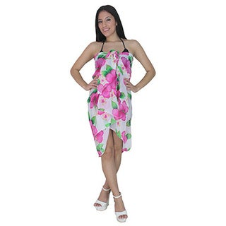 La Leela Lightweight Chiffon Floral Skirt Hawaii Sarong Cover up 72X42 Inch Pink