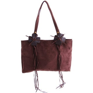 24/7 Comfort Apparel Brown Faux Suede Handbag