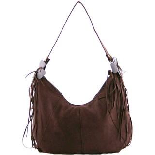 24/7 Comfort Apparel Bohemian Brown Faux Suede Bag