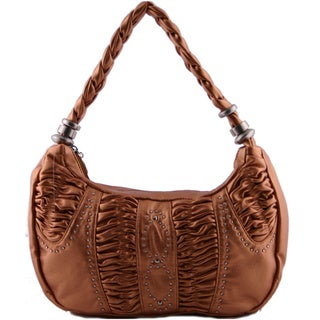 24/7 Comfort Apparel Metallic Faux Leather Ruched Handbag