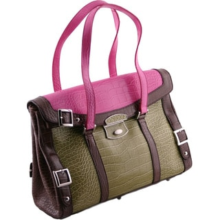 24/7 Comfort Apparel Vibrant Faux Patent Leather Tote
