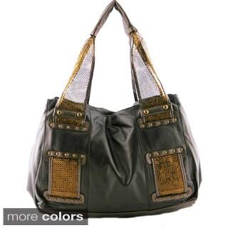 24/7 Comfort Apparel Metallic Faux Leather Mesh Handle Handbag