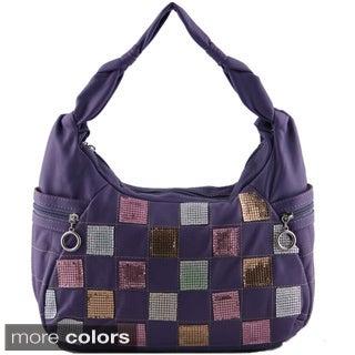 24/7 Comfort Apparel Faux Leather Checkerboard Handbag