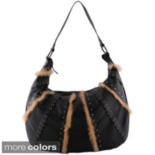 24/7 Comfort Apparel Faux Leather Fur-trimmed Tote