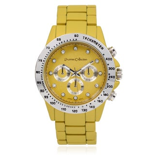 Journee Collection Rhinestone Round Face Link Watch