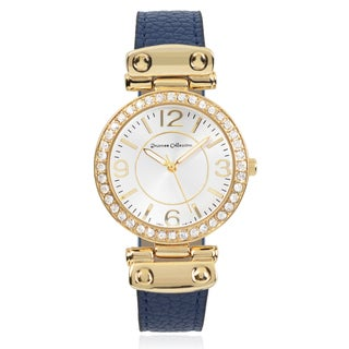 Journee Collection Two-tone Rhinestone Accent Faux Leather Strap Watch