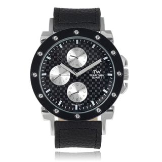 Territory Men's Large Round Faux Leather Strap Watch