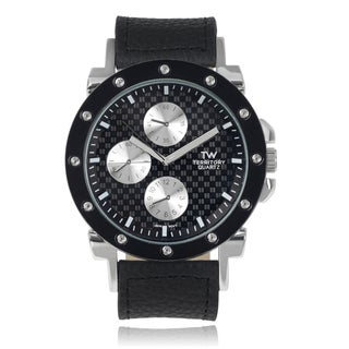 Territory Men's Chronograph Black Faux Leather Strap Watch