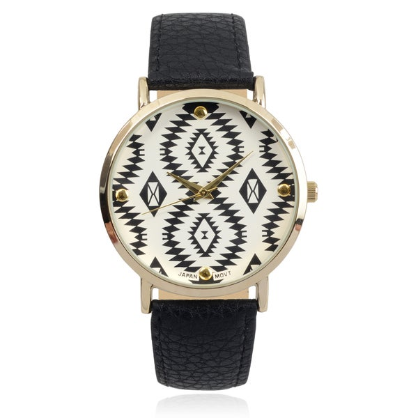 Journee Collection Women's Goldtone Tribal Print Faux Leather Strap Watch