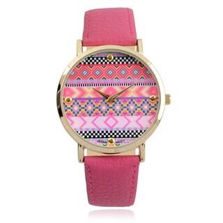 Journee Collection Aztec Print Round Face Quartz Watch