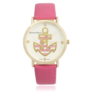 Journee Collection Rhinestone Round Face Anchor Watch