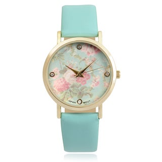 Journee Collection Women's Goldtone Rhinestone Accent Floral Dial Faux Leather Strap Watch