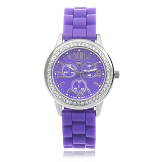 Journee Collection Rhinestone Roman Numeral Round Face Watch