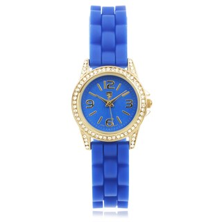 Journee Collection Rhinestone Round Face Silicone Band Watch