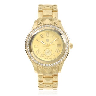 Journee Collection Rhinestone Round Face Roman Numeral Watch