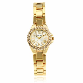 Journee Collection Round Face Roman Numeral Link Band Watch