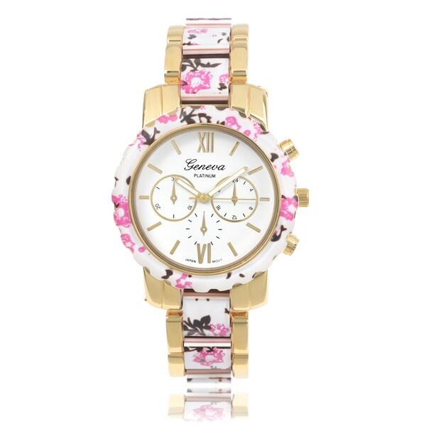 Geneva Platinum Women's Floral Link Watch