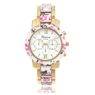 Geneva Platinum Women's Floral Link Watch